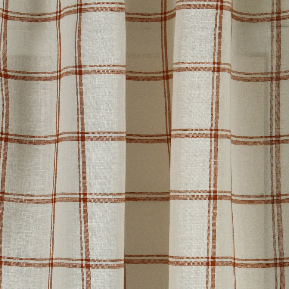 LINEN SHEERS STRIPES & PLAIDS Quiet Squares Fabric - Cider