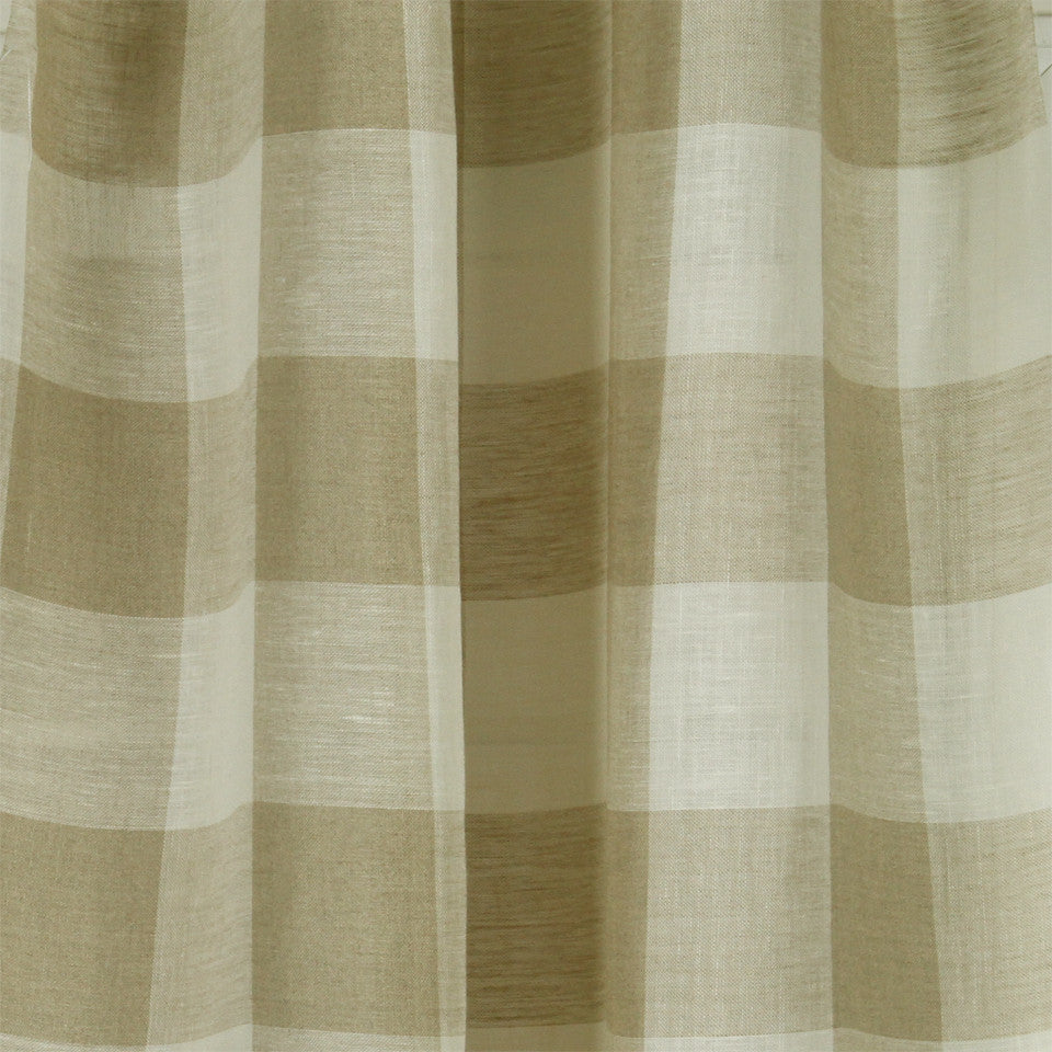 LINEN SHEERS STRIPES & PLAIDS Stitched Block Fabric - Linen