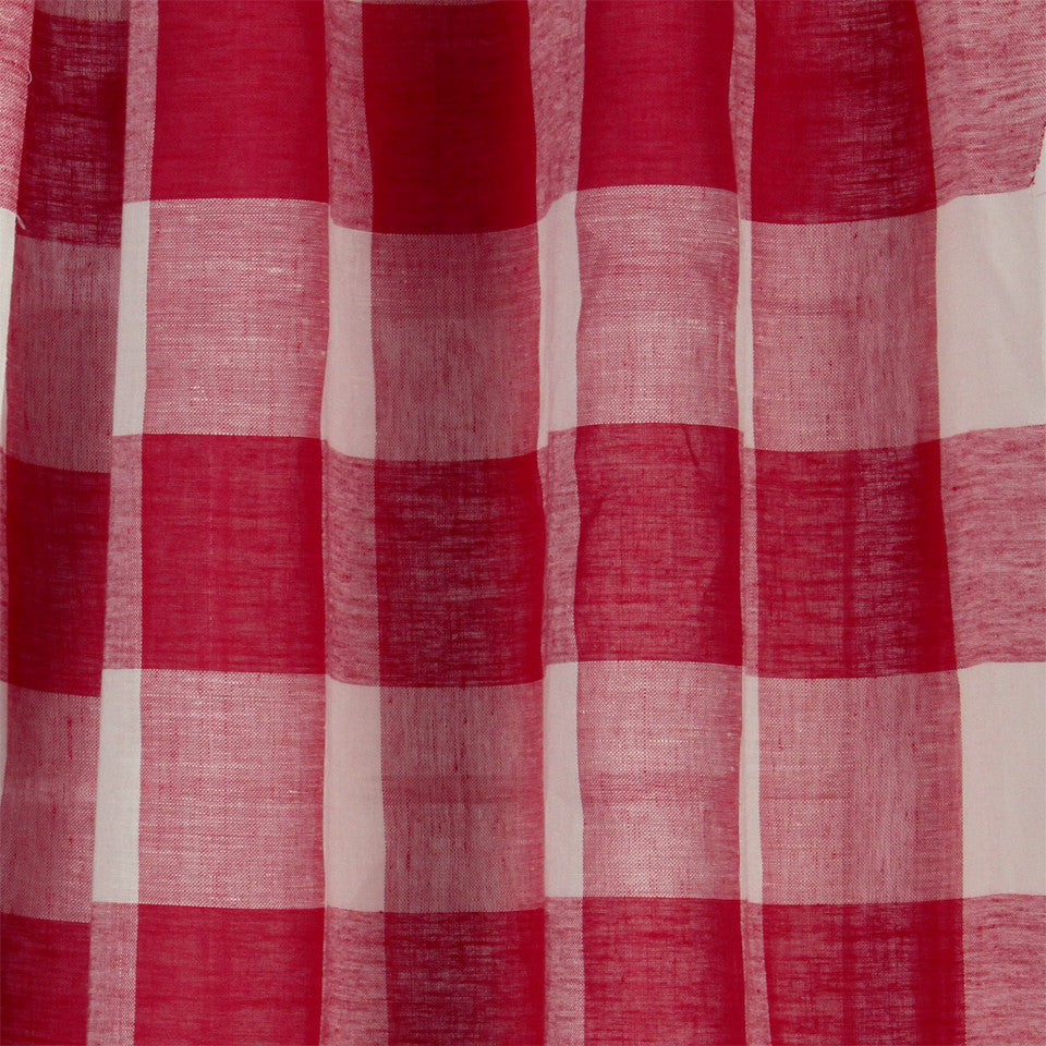 LINEN SHEERS STRIPES & PLAIDS Stitched Block Fabric - Poppy
