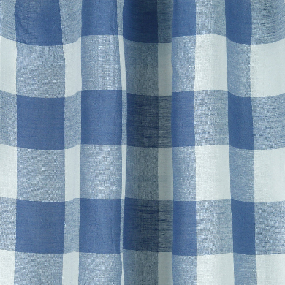 LINEN SHEERS STRIPES & PLAIDS Stitched Block Fabric - Bluebell