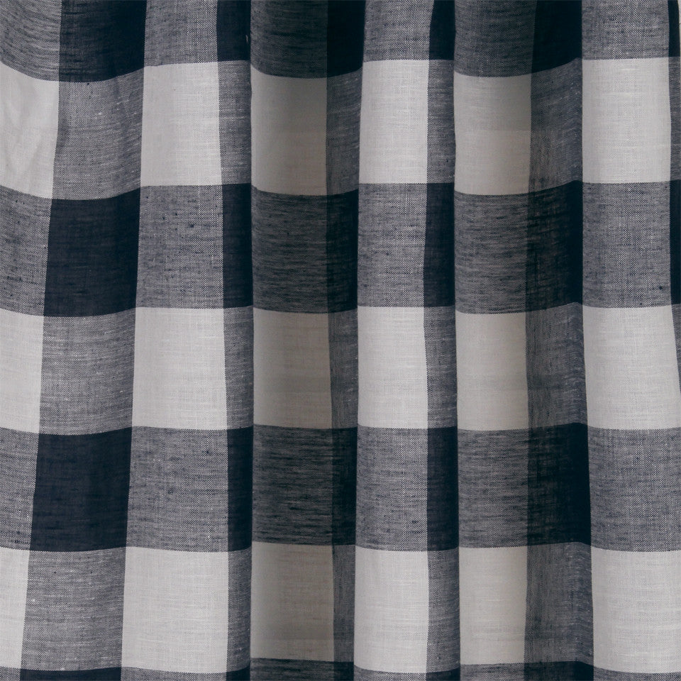 LINEN SHEERS STRIPES & PLAIDS Stitched Block Fabric - Navy