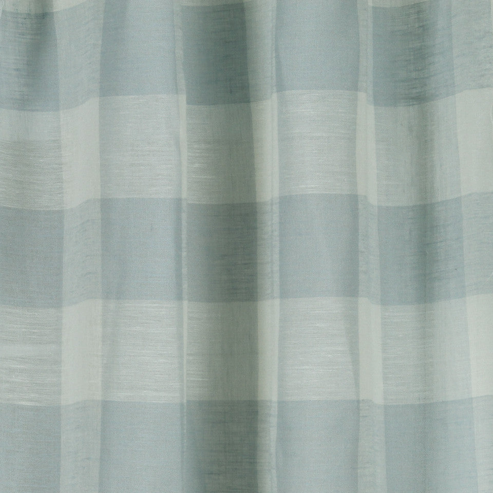 LINEN SHEERS STRIPES & PLAIDS Stitched Block Fabric - Pool