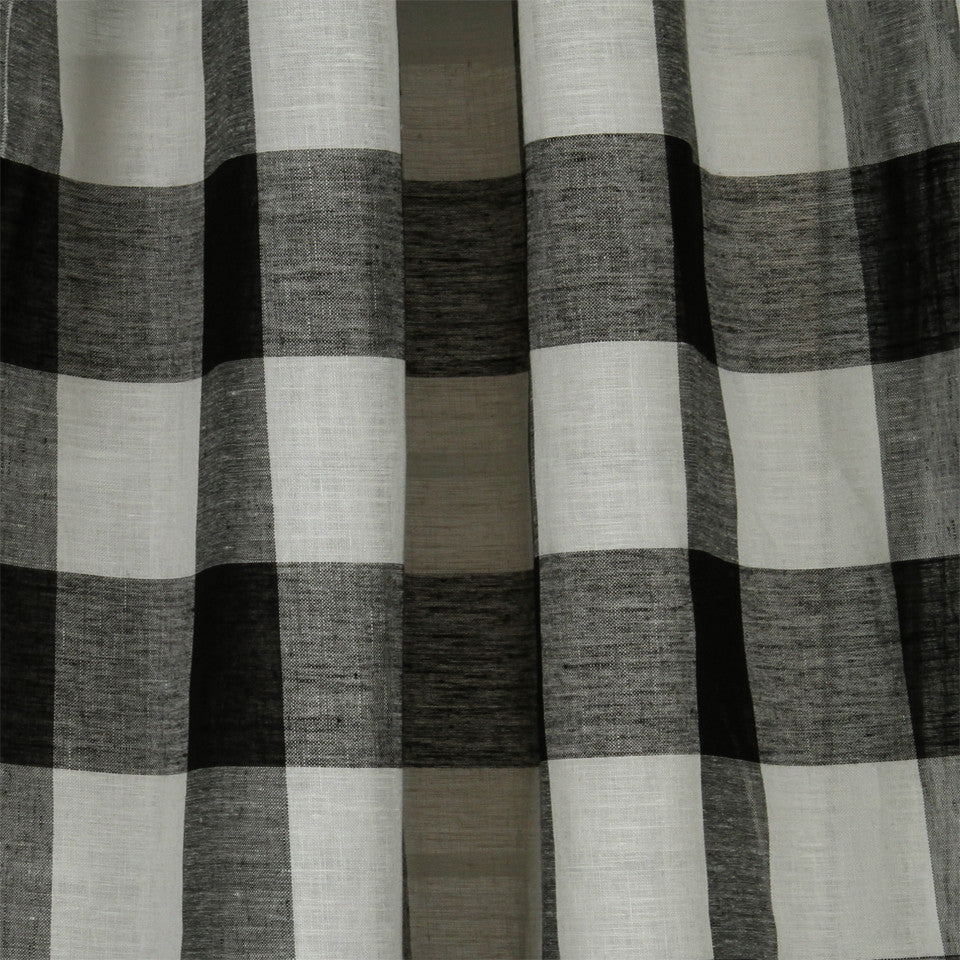 LINEN SHEERS STRIPES & PLAIDS Stitched Block Fabric - Black