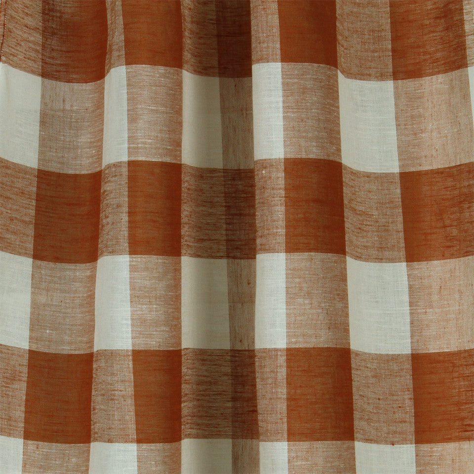 LINEN SHEERS STRIPES & PLAIDS Stitched Block Fabric - Cider