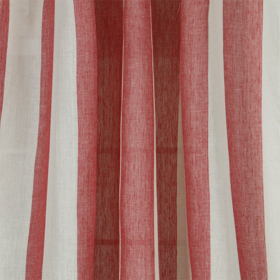 LINEN SHEERS STRIPES & PLAIDS Perfect Match Fabric - Poppy