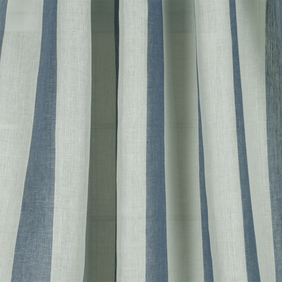 LINEN SHEERS STRIPES & PLAIDS Perfect Match Fabric - Bluebell