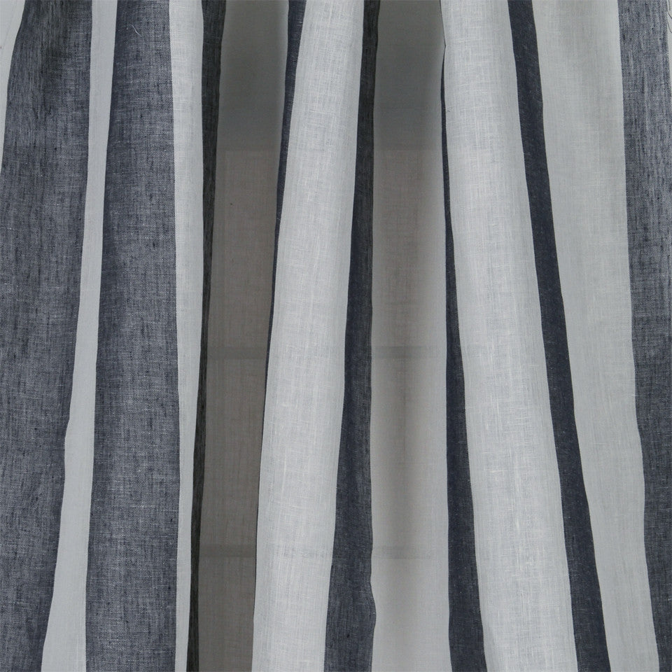 LINEN SHEERS STRIPES & PLAIDS Perfect Match Fabric - Navy