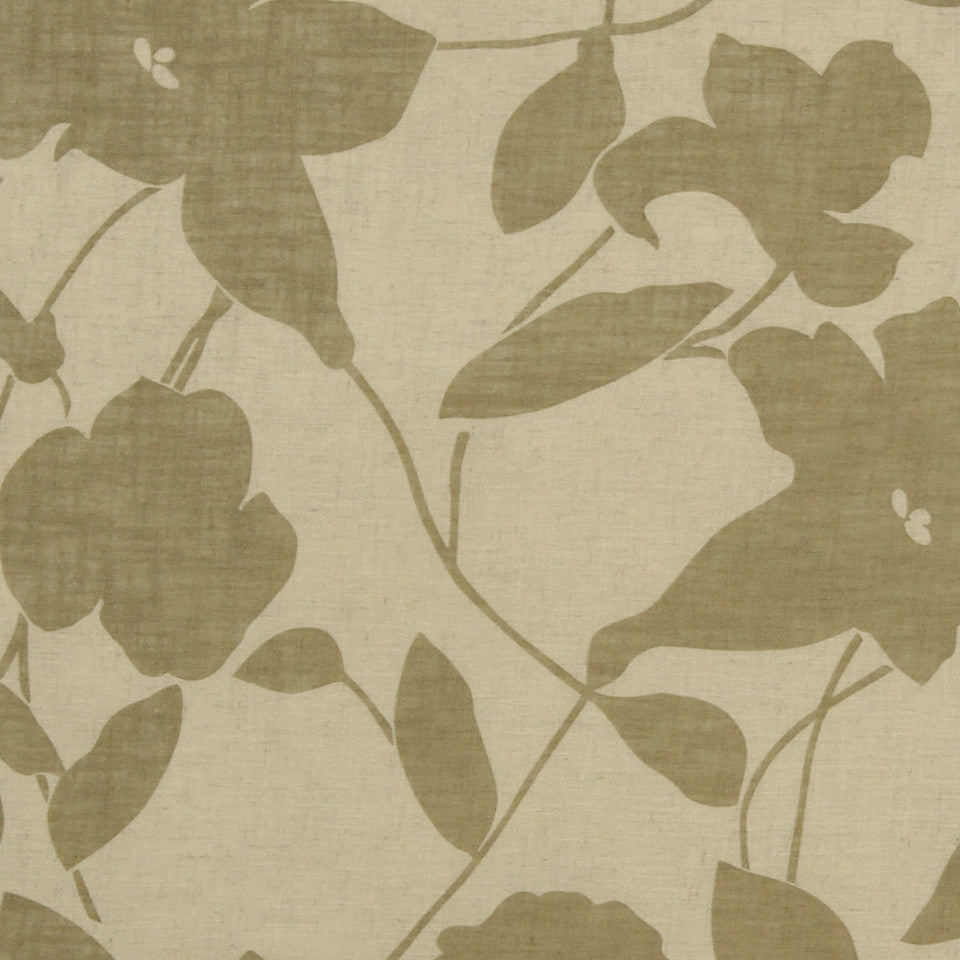 NATURAL SHEERS LIGHT NEUTRALS Floral Way Fabric - Wheat