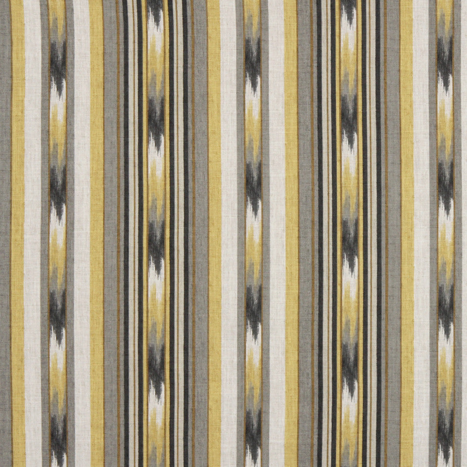 GRAPHITE-NIGHT SKY-GREYSTONE Ikat Stripe Fabric - Greystone