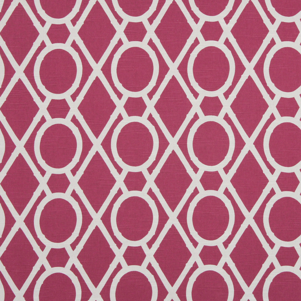 MANGO-PEONY-WATERMELON Lattice Bamboo Fabric - Raspberry