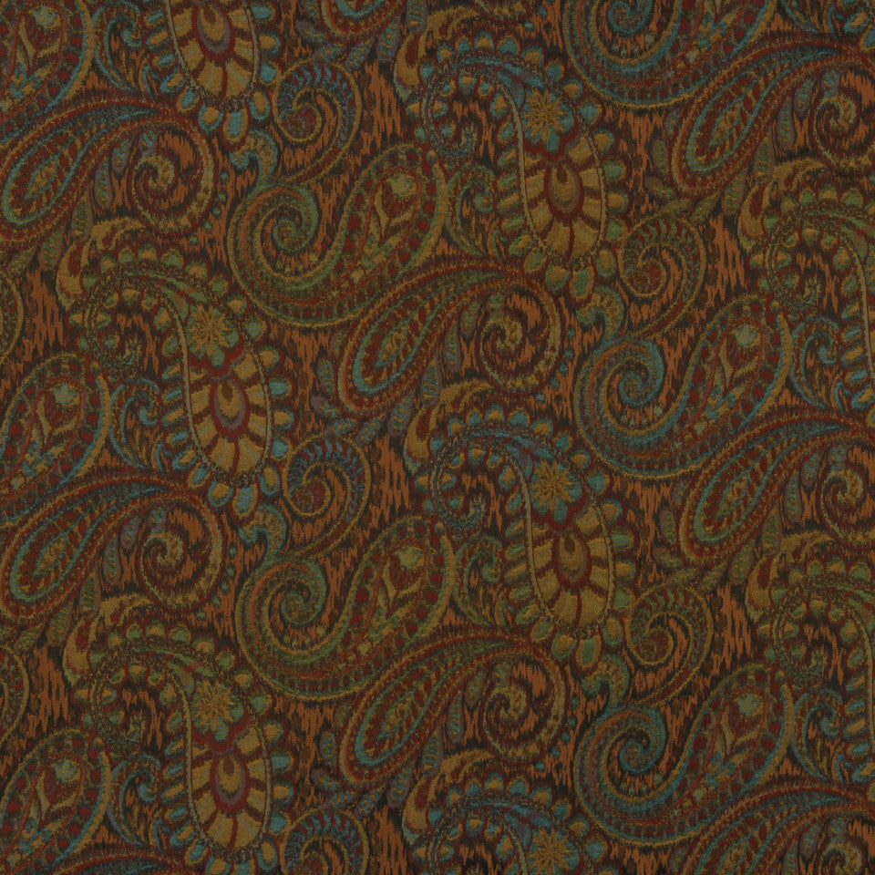 RED HOT Tamil Paisley Fabric - Henna