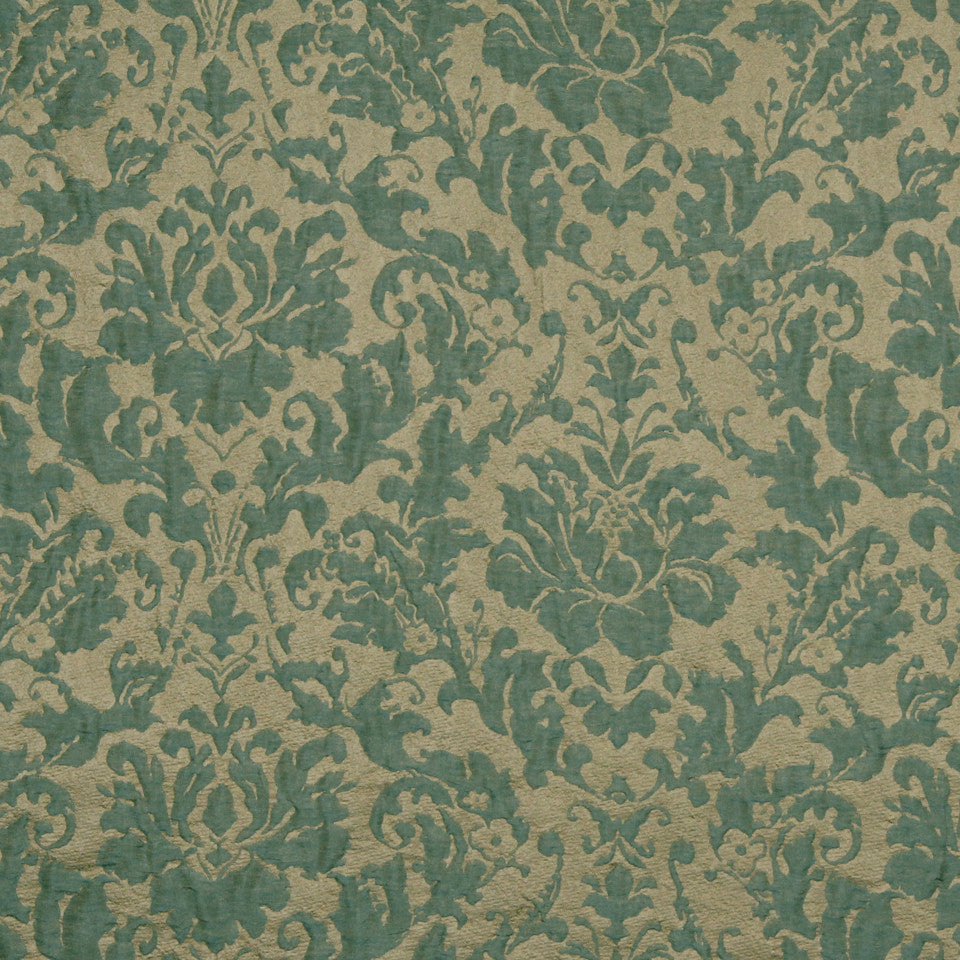 MODERN SILK I Flame Frame Fabric - Dark Aqua