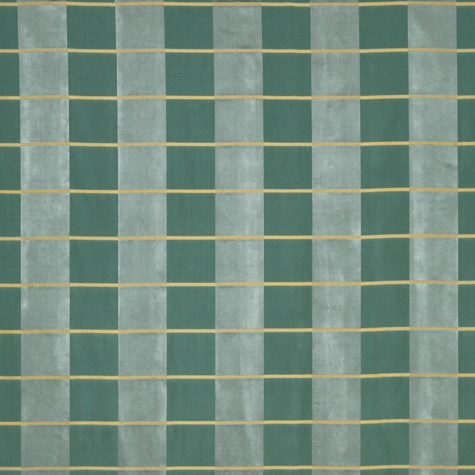 MODERN SILK I Palette Plaid Fabric - Dark Aqua