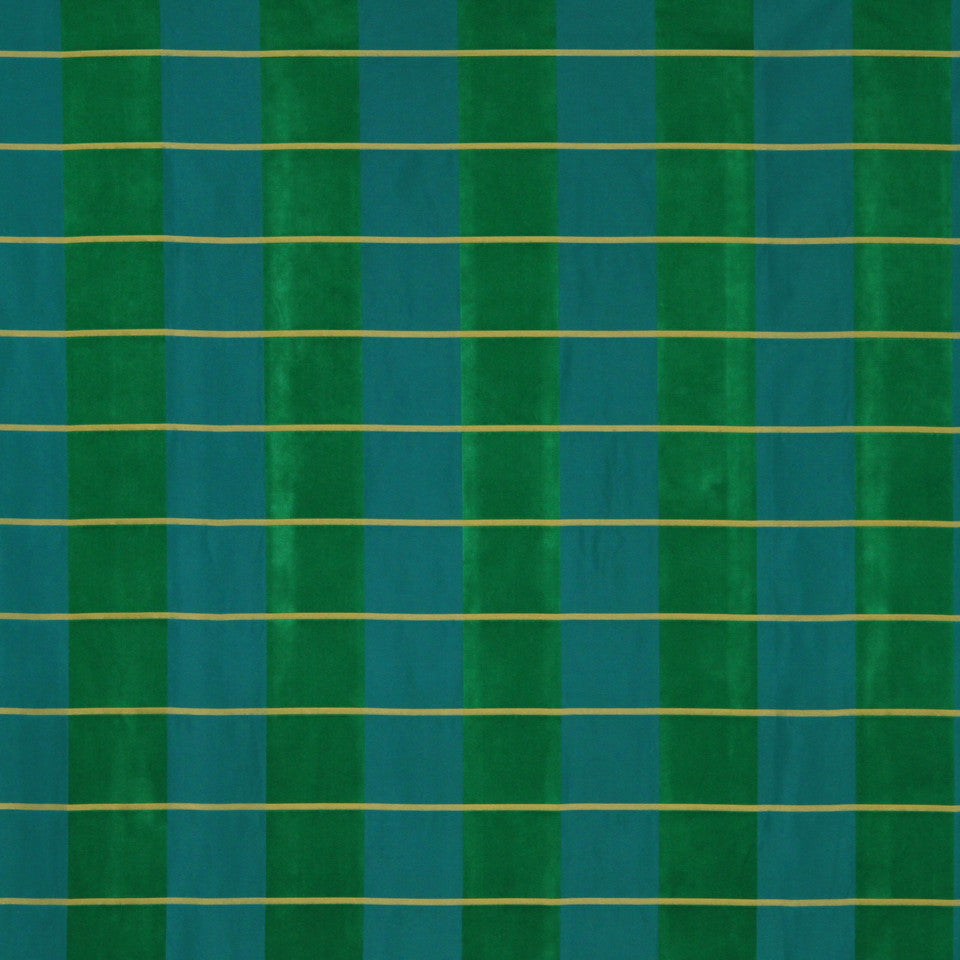 MODERN SILK I Palette Plaid Fabric - Emerald