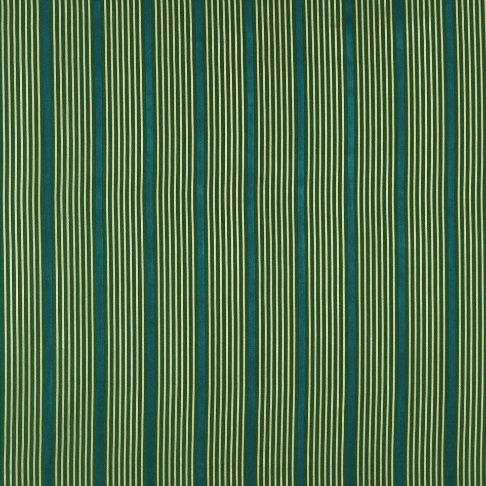 MODERN SILK I Kelly Stripe Fabric - Emerald