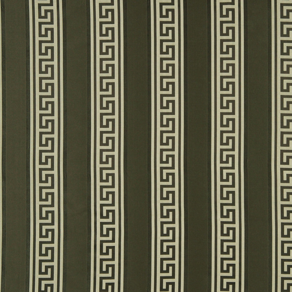 MODERN SILK II Meander Stripe Fabric - Walnut