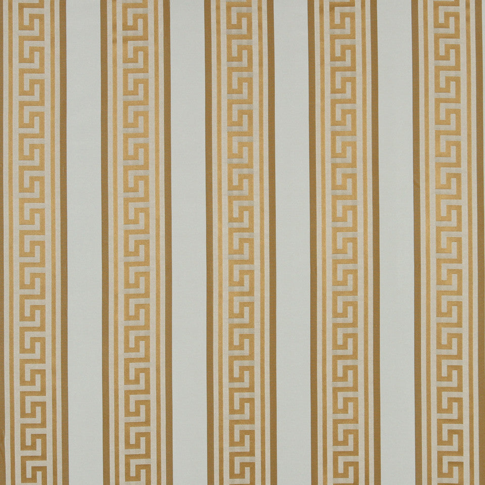 MODERN SILK I Meander Stripe Fabric - Warm Gold