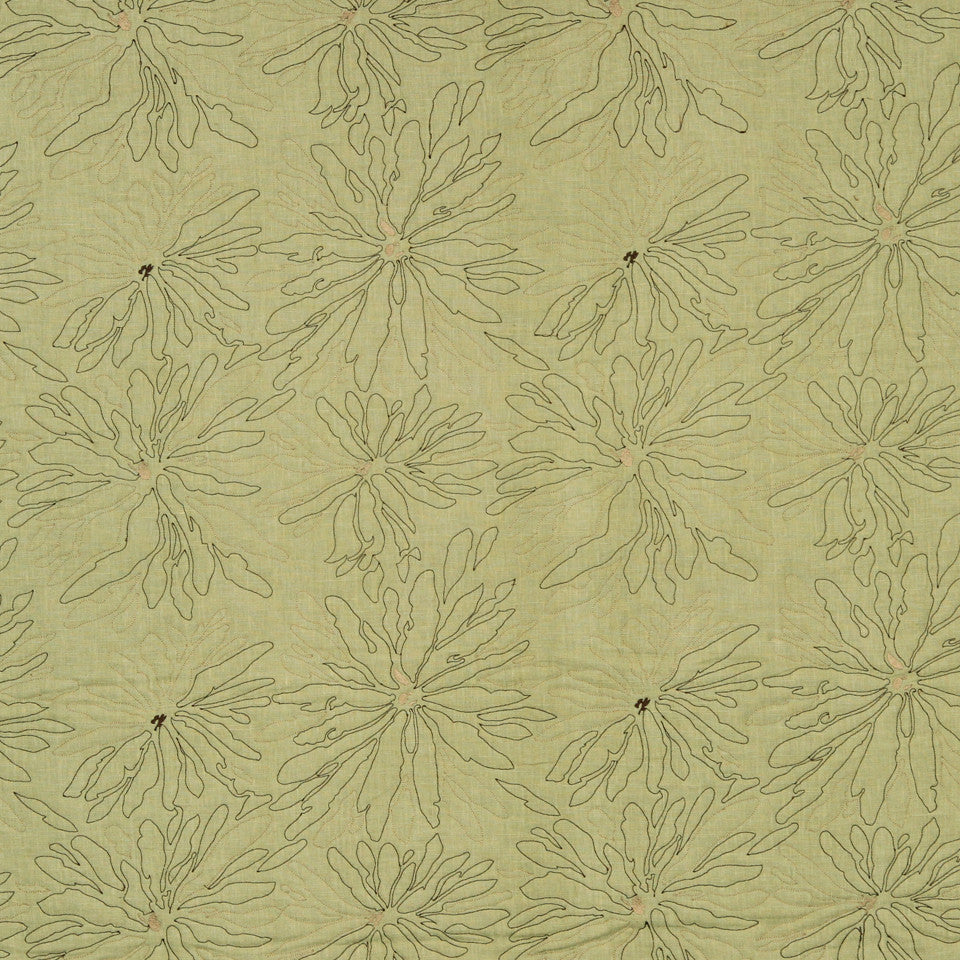 MATELASSES AND QUILTS Line Flower Fabric - Pistachio