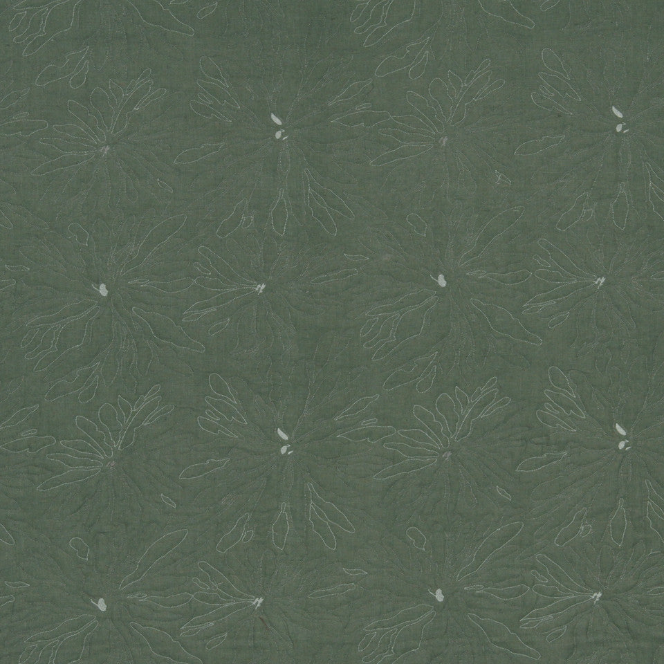 MATELASSES AND QUILTS Line Flower Fabric - Jadestone