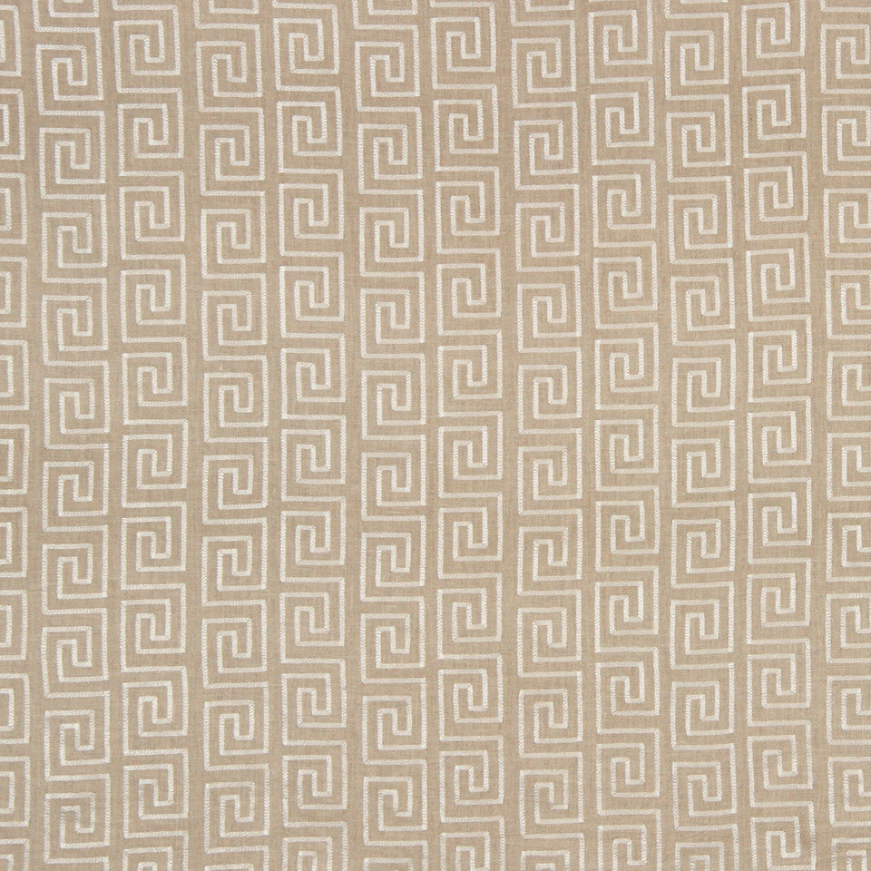 PUMICE-WHITEWASH-FLAX Crazy Maze Fabric - Linen