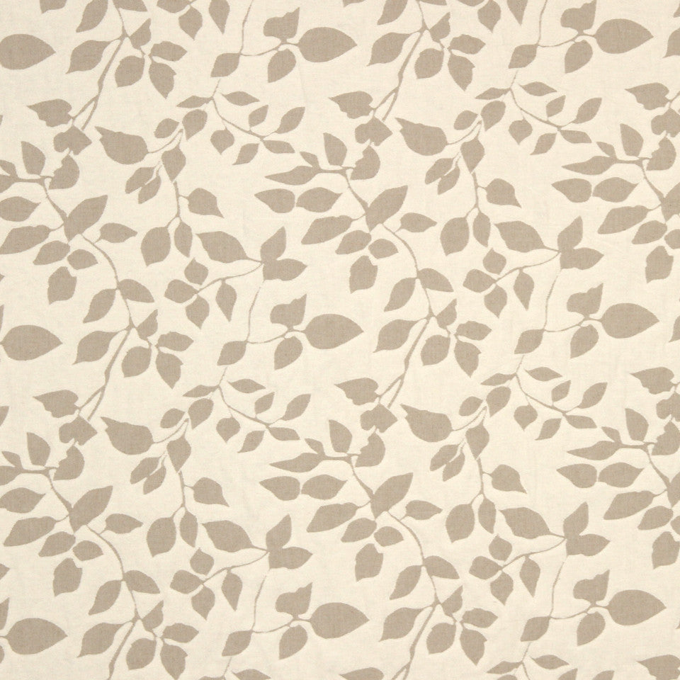 PUMICE-WHITEWASH-FLAX Many Leaves Fabric - Wheat
