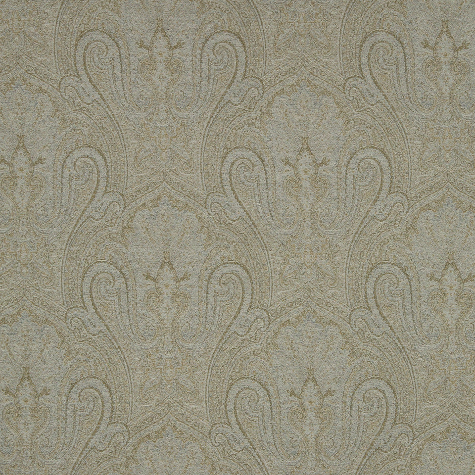 SILVER Canvas Paisley Fabric - Silver