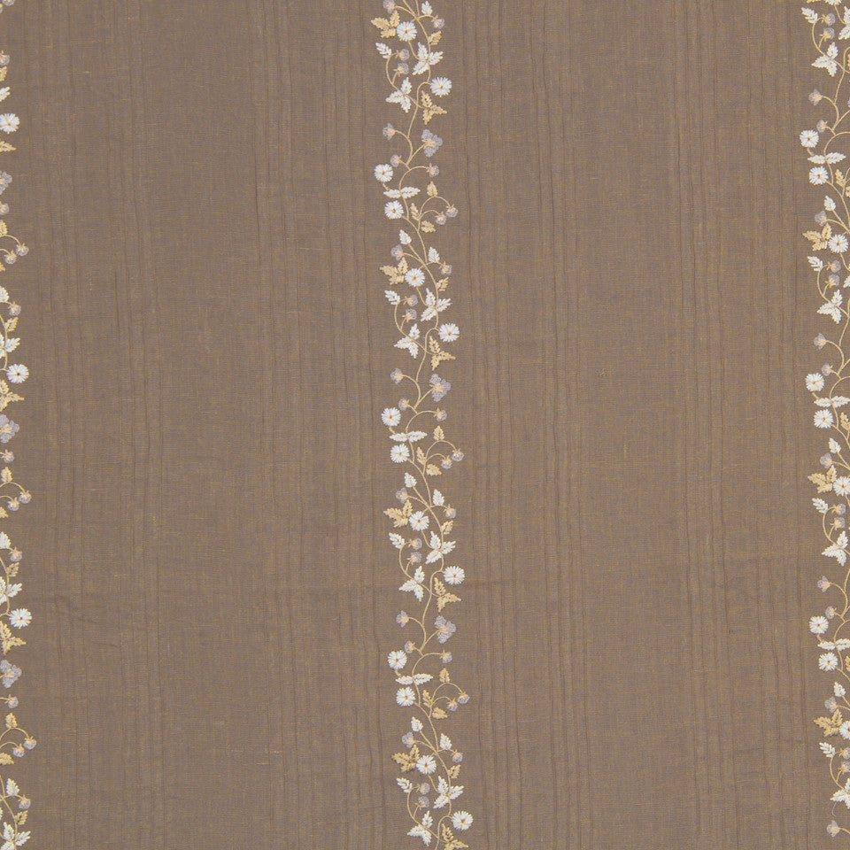 PUMICE-WHITEWASH-FLAX Fresh Flowers Fabric - Latte