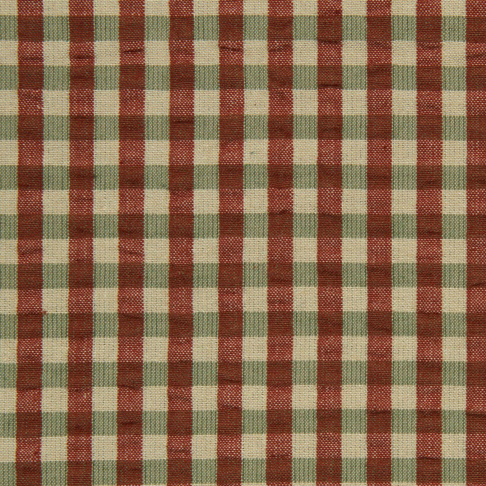 SAFFRON-AUBURN-SIENNA Pucker Plaid Fabric - Sienna