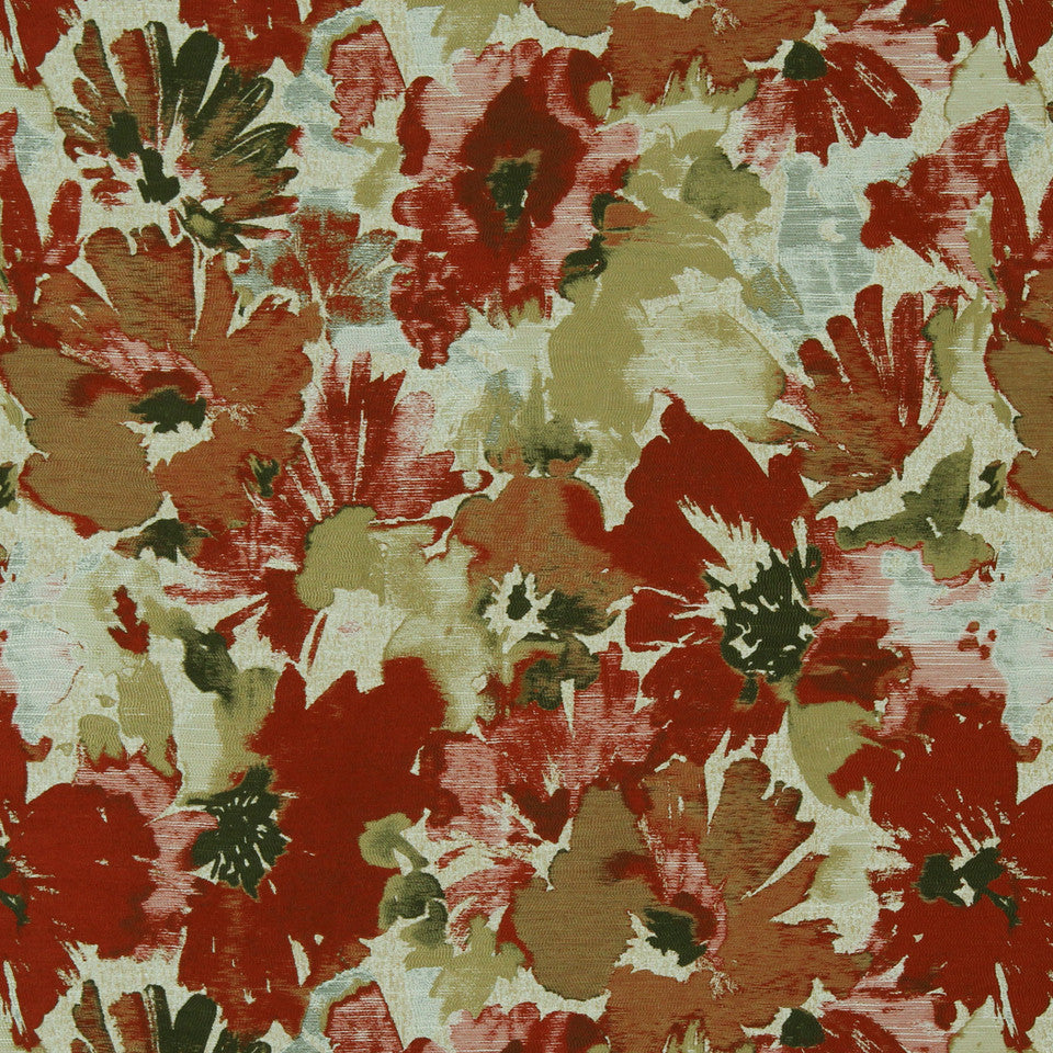 RED HOT Tudor Grove Fabric - Red Hot