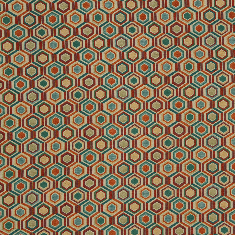 SAFFRON Multi Hexagon Fabric - Saffron
