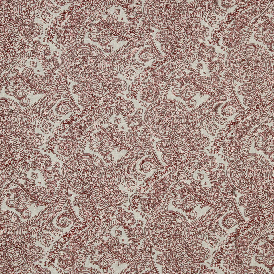 LAVA-RED HOT-GARNET Flax In Bloom Fabric - Red Hot