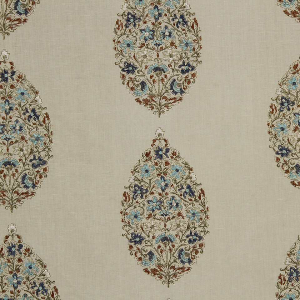 DEW-CORNFLOWER-WISTERIA Sprouting Vine Fabric - Turquoise