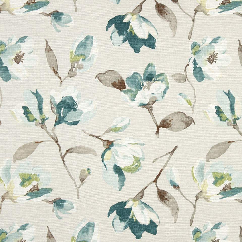 GRAIN-COBBLESTONE-SEA Painted Flower Fabric - Mineral