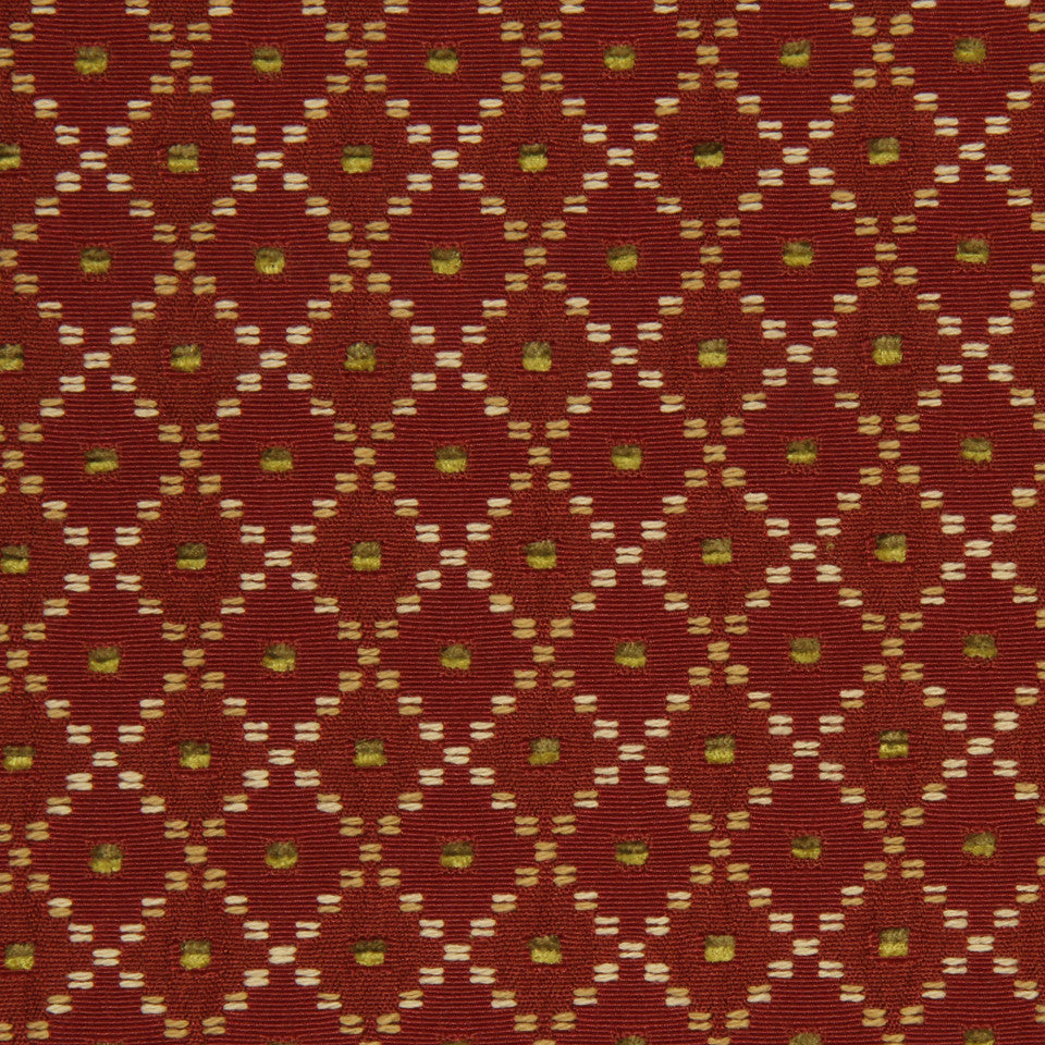 HENNA Dotted Boxes Fabric - Red Hot