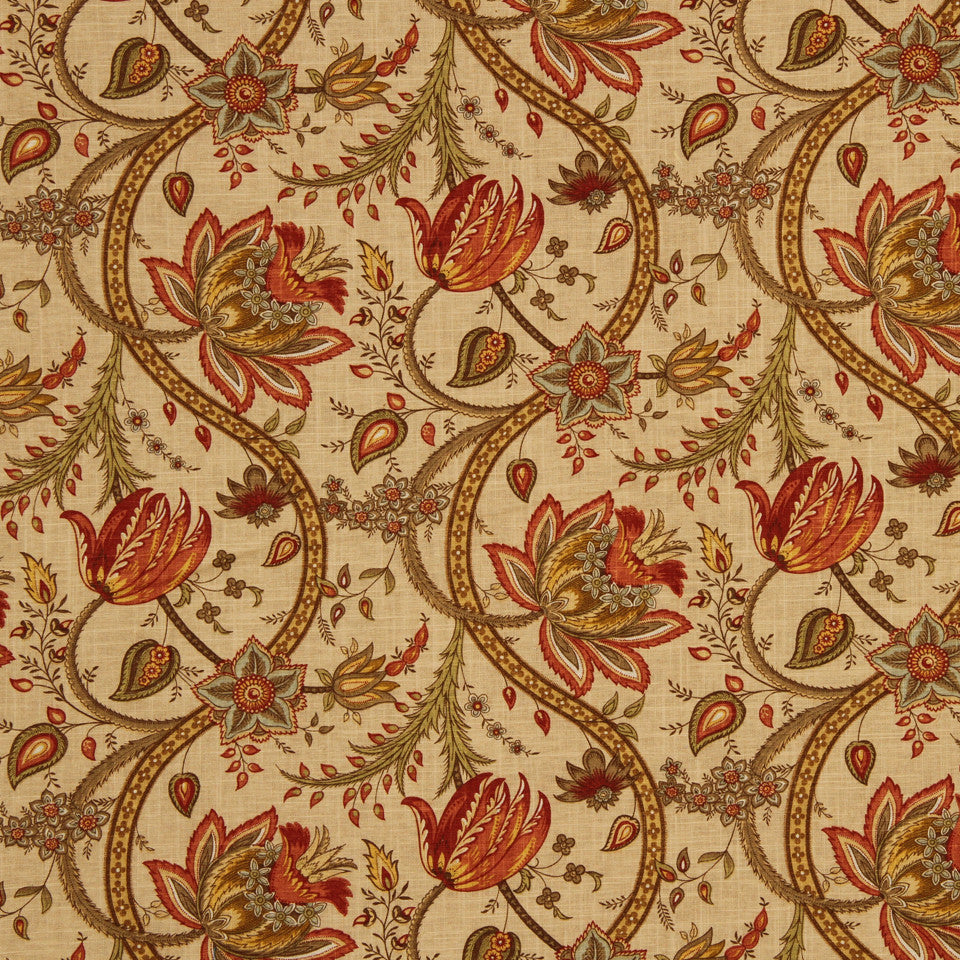 GOLDEN-MAIZE-HONEYSUCKLE Inn Essence Fabric - Canyon