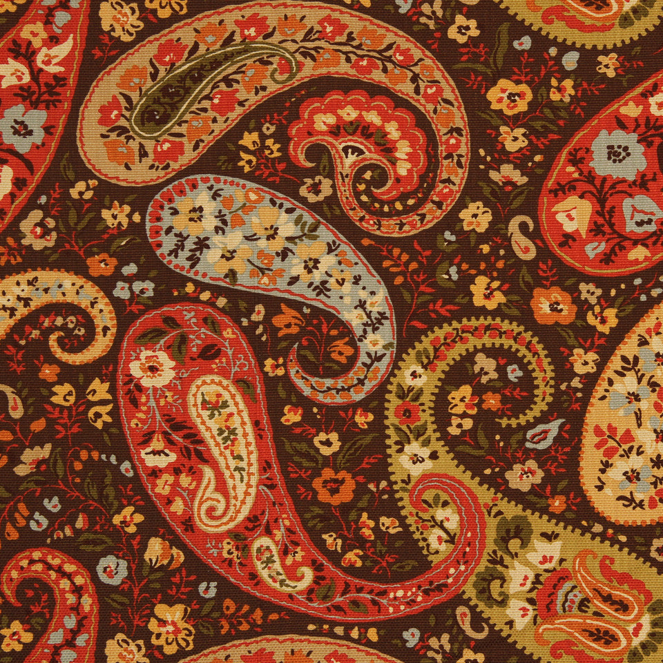 GOLDEN-MAIZE-HONEYSUCKLE Wild Paisley Fabric - Jasper
