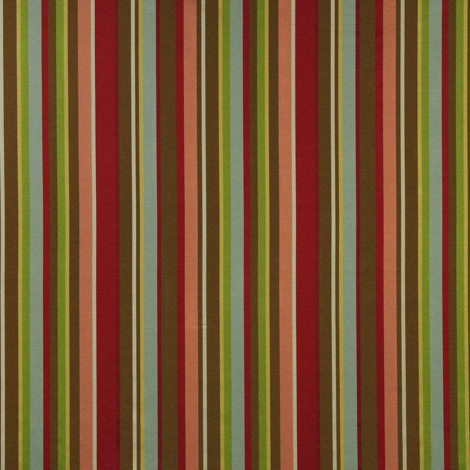 LAVA-RED HOT-GARNET Fruity Stripes Fabric - Lava