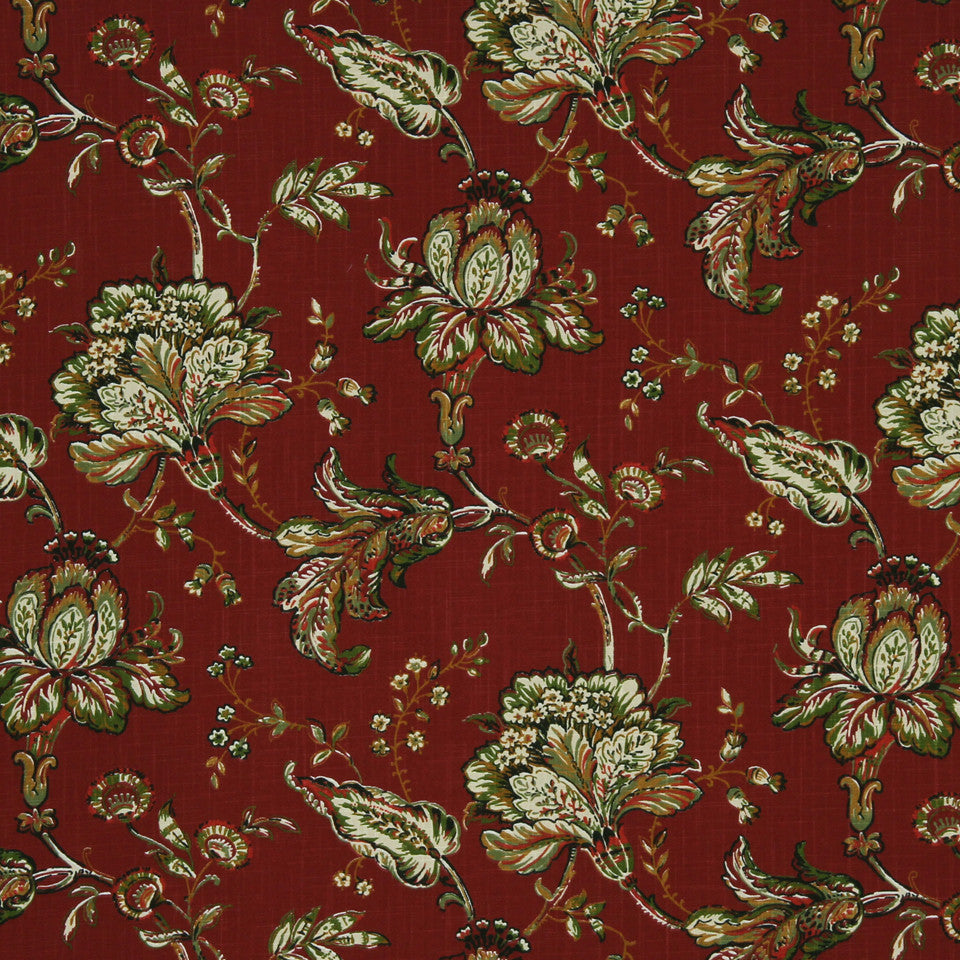 LAVA-RED HOT-GARNET Unique Flower Fabric - Garnet