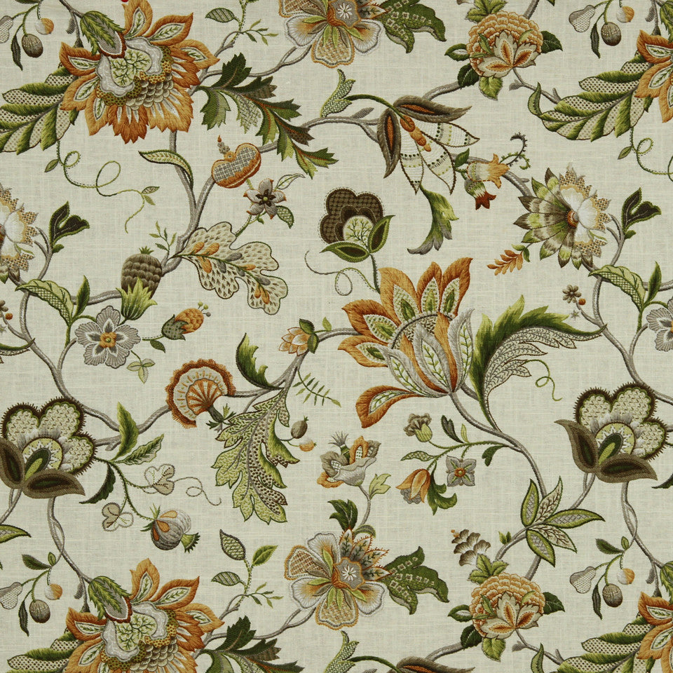 KIWI-ARTICHOKE-ZEST Simple Flowers Fabric - Kiwi