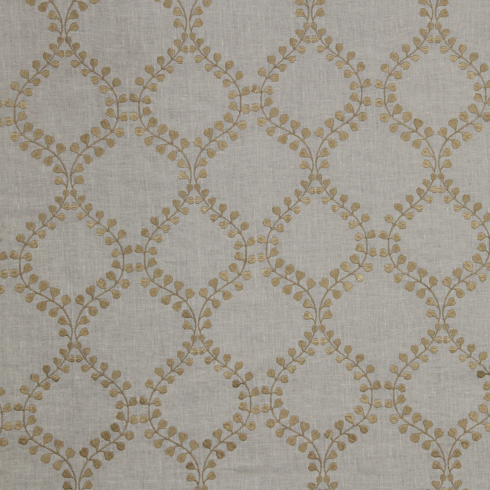 COCOA-OATMEAL-VANILLA Winding Leaves Fabric - Sand