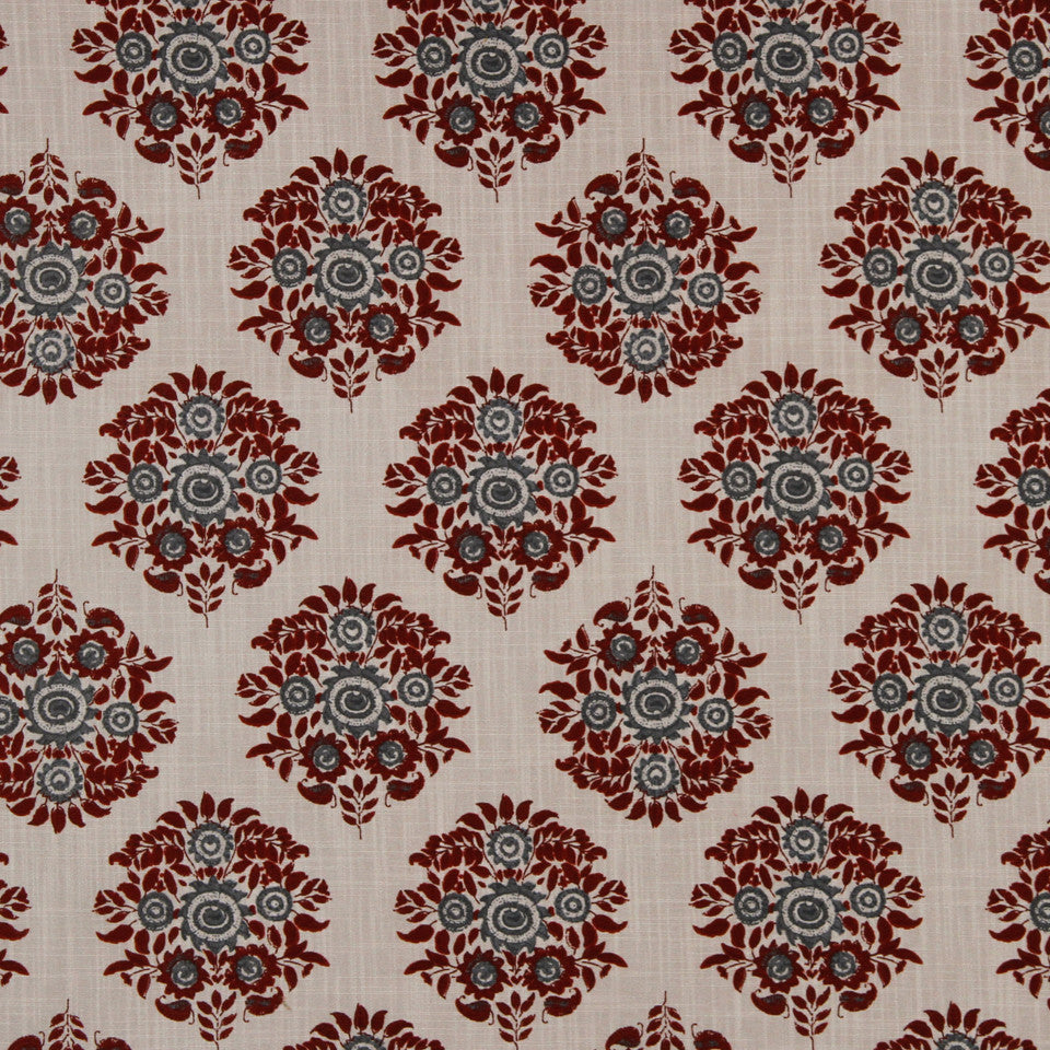 LAVA-RED HOT-GARNET Dora Flora Fabric - Garnet