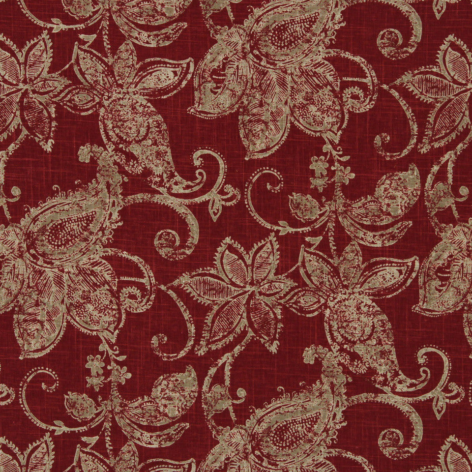 LAVA-RED HOT-GARNET Woodhall Fabric - Red Hot