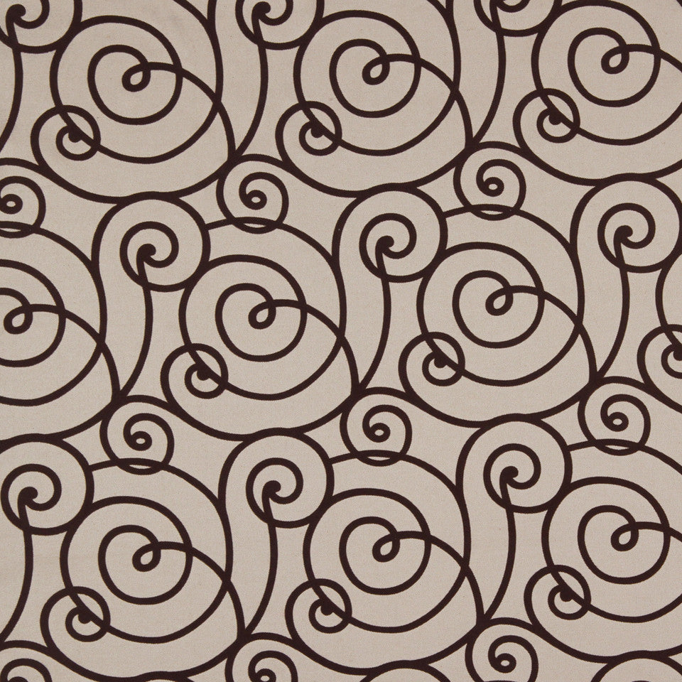LARRY LASLO QUARTZ STONE Flocked Scroll Fabric - Truffle