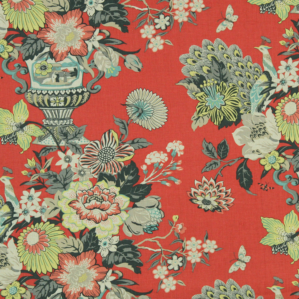 WILLIAMSBURG CLASSICS COLLECTION II Elizas Garden Fabric - Salem Red