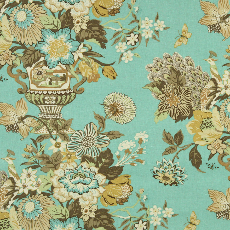 WILLIAMSBURG CLASSICS COLLECTION II Elizas Garden Fabric - Lagoon