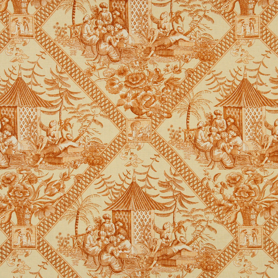 WILLIAMSBURG CLASSICS COLLECTION II Tavern Toile Fabric - Marigold