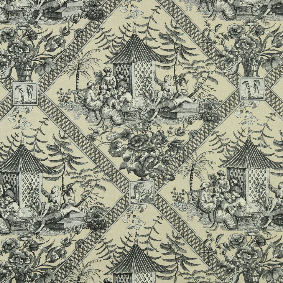 WILLIAMSBURG CLASSICS COLLECTION II Tavern Toile Fabric - Slate