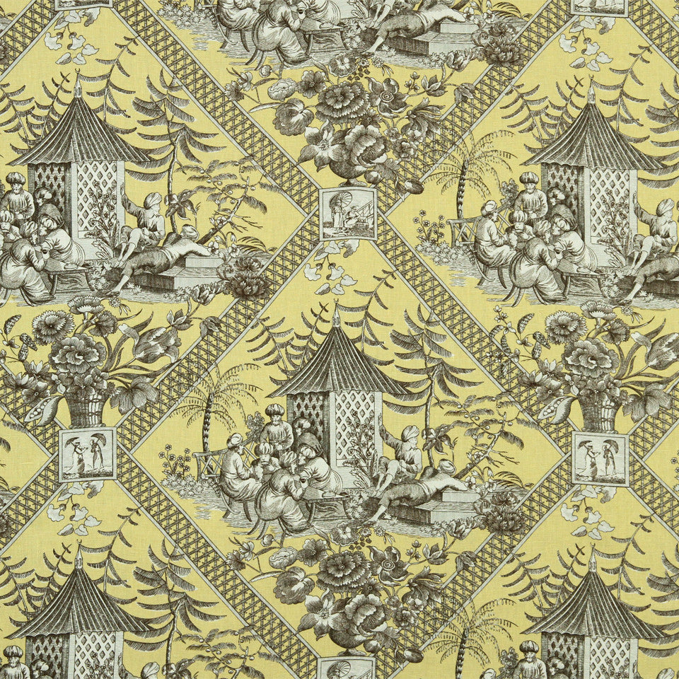 GOLDEN-MAIZE-HONEYSUCKLE Tavern Toile Fabric - Souffle