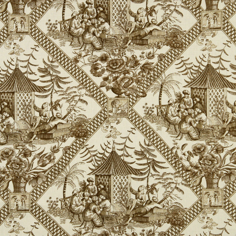 WILLIAMSBURG CLASSICS COLLECTION II Tavern Toile Fabric - Praline