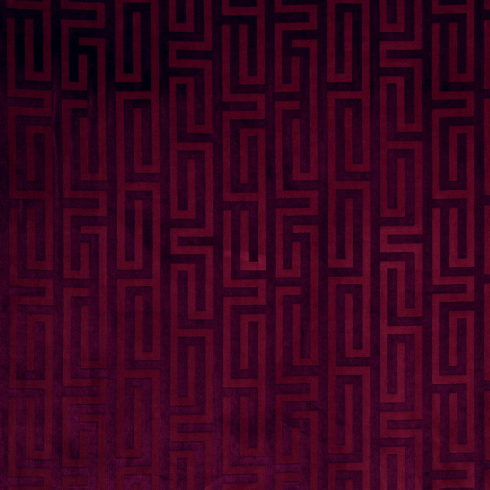 LARRY LASLO GEMSTONE Velvet Maze Fabric - Cerise